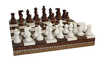 Worldwise Imports Brown and White Inlaid Alabaster Chess/Checkers Set with 3in King