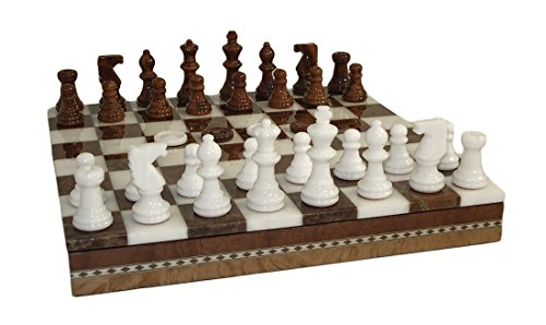 Black Alabaster Checkers (Worldwise Imports Brown and White Inlaid Alabaster Chess/Checkers Set with 3in King)