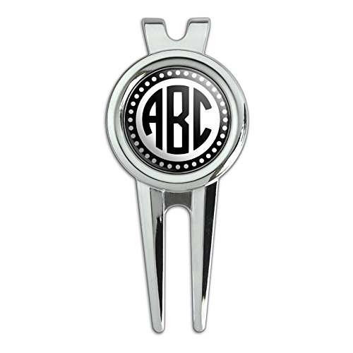 Graphics and More Personalized Custom Golf Divot Repair Tool and Ball Marker – Monogram Circle Font Scalloped Outline
