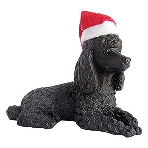 Sandicast Black Poodle with Santa Hat Christmas Ornament 6