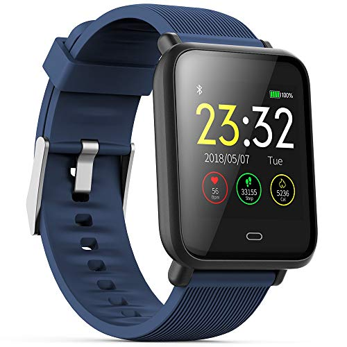 PADY-Wearable Technology Q9 1.3 Inch Colorful Screen Waterproof Sports Smart Watch for Android/iOS with Heart Rate Monitor Blood Pressure Functions (Blue)