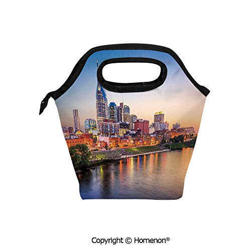 - Insulated Neoprene Soft Lunch Bag Tote Handbag lunchbox,3d prited with Cumberland River Nashville Tennessee Evening Architecture Travel Destination,For School work Office Kids Lunch Box & Food Contain