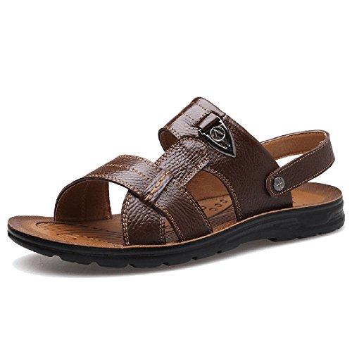 Brown Di Scarpe Pelle On Estive Dimensioni Uomo Sandali Grandi All'aperto Slip Open In Shoe Piscina Da Camminate Spiaggia Toe Da Ciabatte Per Pool Per wO8Rg7O