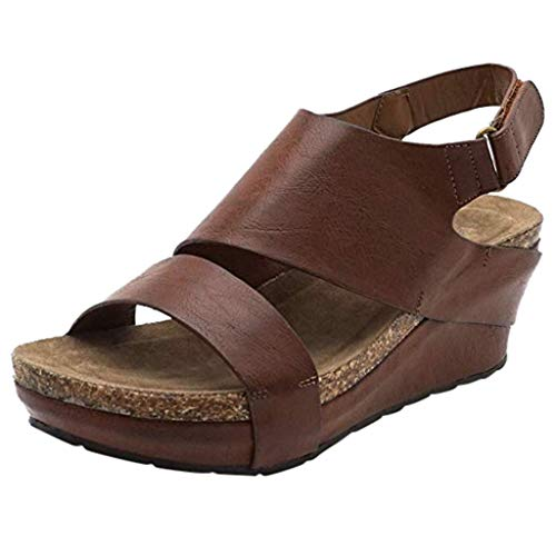 Wedge Sandals for Women,Open Toe Adjustable Strap Cutout Belt Platform Faux Leather Cork High Heels (US:6.5, Brown) -