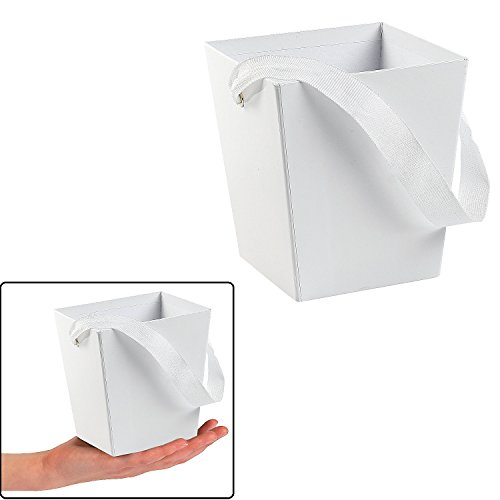WHITE CARDBOARD BUCKET WITH RIBBON HANDLE