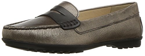 Geox Women's Elidia 5 Slip-on Loafer, Champagne/Anthracite, 35 EU/5 M US by Geox