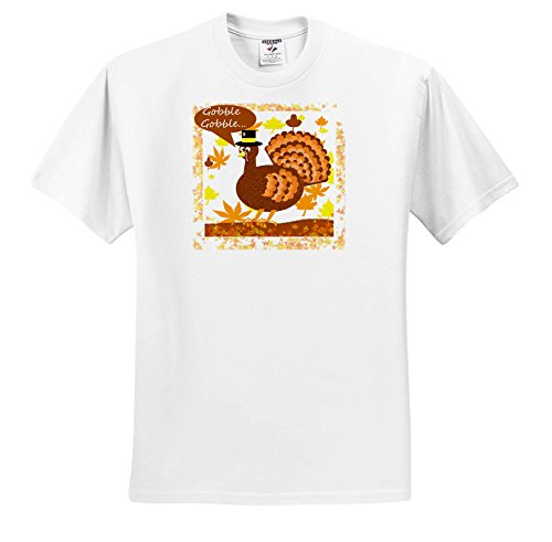 3dRose Dawn Gagnon Photography Holiday Designs - Thanksgiving Greeting With Turkey - T-Shirts - White Infant Lap-Shoulder Tee (6M) (Greeting Turkey)
