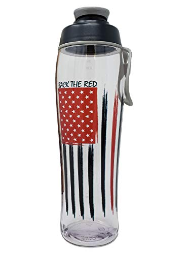 BPA-Free Fire Fighter & Police Water Bottle - BPA Free - Great Gift for Policeman Firefighter or Wife - Easy Open Chug Cap & Carry Loop - USA Made - 24 oz. or 30 Ounce (Back the Red, 30 oz.)