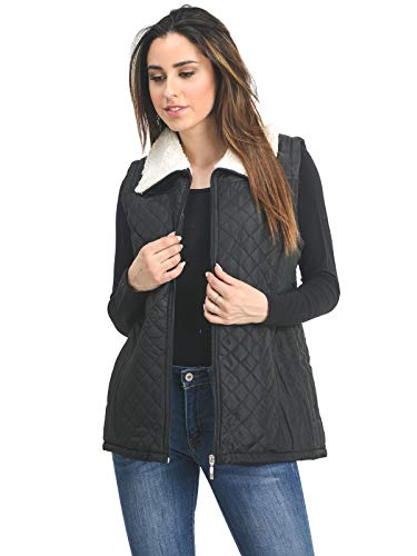 Casual Warm Lightweight Quilted Puffer Vest with Contrast Sherpa Collar Black S ()