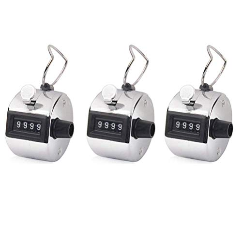 SODIAL Hand Tally Counter, 3 Pack 4 Digit Hand Held Tally Counter Clicker with Finger Ring