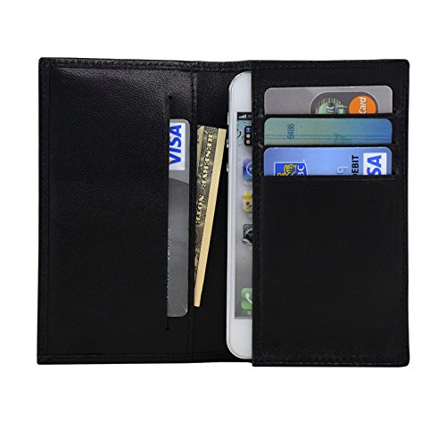 Genuine Sheep Leather Wallet Case for iPhone 5 / 5S / 5C & iPod Touch (Black)