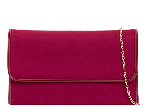 Ladies Faux Suede Clutch Bag - Women's Cocktail Party Purse Bridal Formal Handbag KL2104 Burgundy
