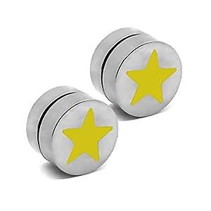 2 Plugs falso Imán pendientes magnético fake plug tunnel piercing 10 mm no agujero de oido estrella, color:amarillo