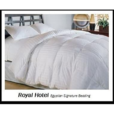 Royal Hotel's Queen Size Light Down-Comforter 650-Fill-Power 100 % Cotton Shell 300TC - Stripe White