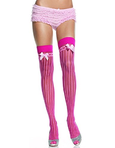 Leg Avenue Lycra Sheer Pin Stripe Thigh High Stocking with Bow Top, Black/Light Pink, One ()
