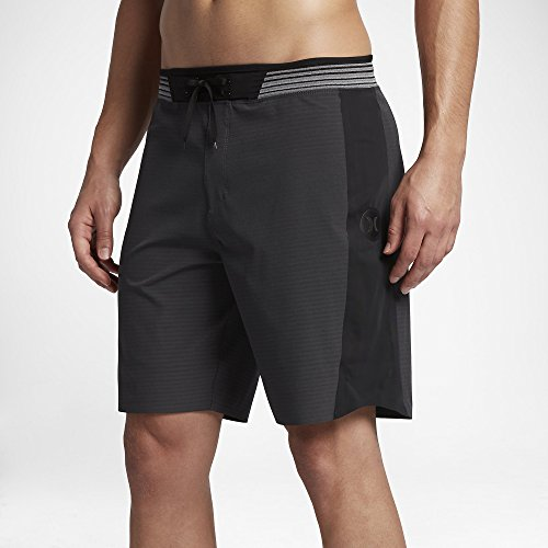 Hurley  Men's Phantom Hyperweave Motion Stripe Elite Boardshorts Black 30 by Hurley