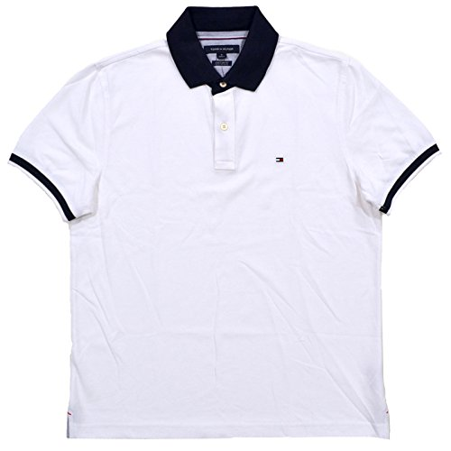 (Tommy Hilfiger Mens Custom Fit Polo Shirt (Large, White))