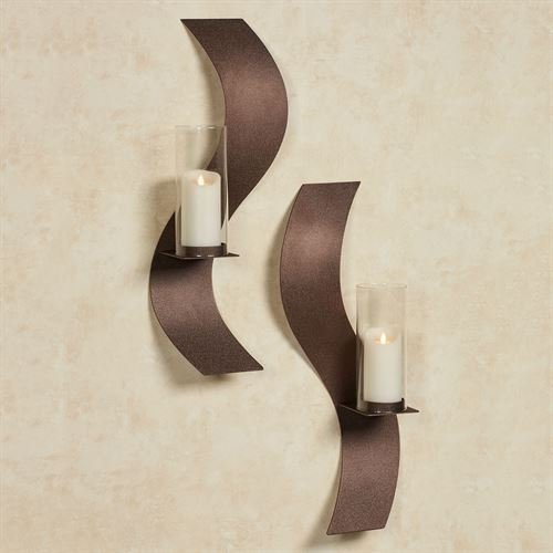 Touch Of Class Metal Rhythmic Wall Sconces Rich Bronze Set of Two