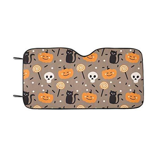 INTERESTPRINT Happy Halloween Pumpkins Bones and Cats Windshield Sunshades, Car Sun Shade Block Sun UV and Heat, Universal Fit