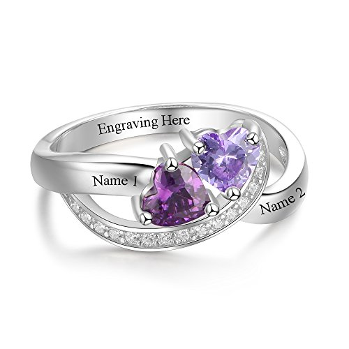 Diamondido Personalized Name Rings 2 Simulate Birthstones Promise Rings For Women Couple Cheap Engagement Rings Band (7) by Diamondido (Image #2)