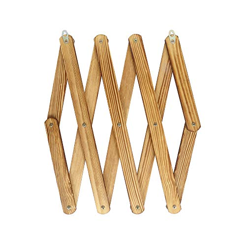 """OROPY Wooden Expandable Coat Rack Hanger, Wall Mounted Accordion Pine Wood Hook for Hanging Hats, Caps, Mugs, Coats, Diamond Shap, 38.6""""×15.6"""", Natural Wood Color"""
