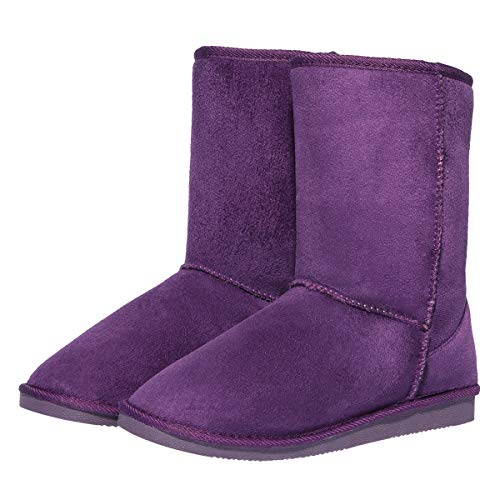 CINAK Women's Resistant Snow Warm Boots Gift Fashion Christmas Short Boots Suede Mid-Calf Boots (8-8.5 B(M) US/ CN40 / 9.84'', Dark Purple) ()