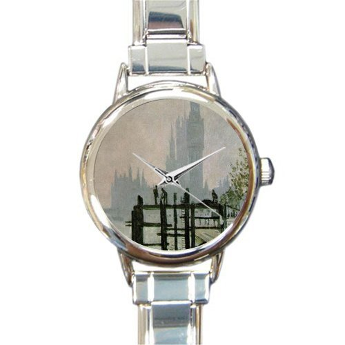 Personalized Watch Claude Monet London Harbor Picture Fog Round Italian Charm stainless steel Watch - Christmas Guft