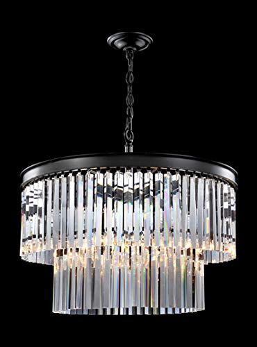 Europa Collection Chandelier in Satin Black Finish