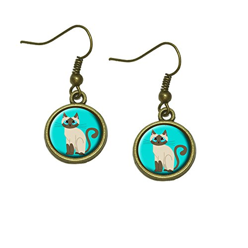 (Cute Siamese Cat Dangle Dangling Drop Earrings)