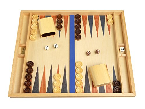 - Orion Craft 19-inch Tabletop Wood Backgammon Set - Beechwood (Blue/Brown) - Non-Folding