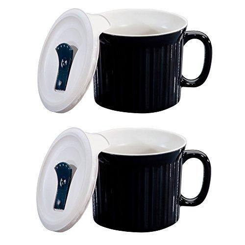 CorningWare Colours Pop-Ins 20-oz Soup Mug with Lid - 2 Pack (Black Licorice)