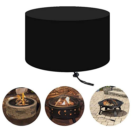 BEAUTY-tarps Round Furniture Cover Foldable Garden Protective Oxford Cloth with Drawstring Outdoor Picnic BBQ Waterproof UV Protection Fire Pit Cover (Color : Round, Size : 77x31cm) (Garden Oxford Cushions)
