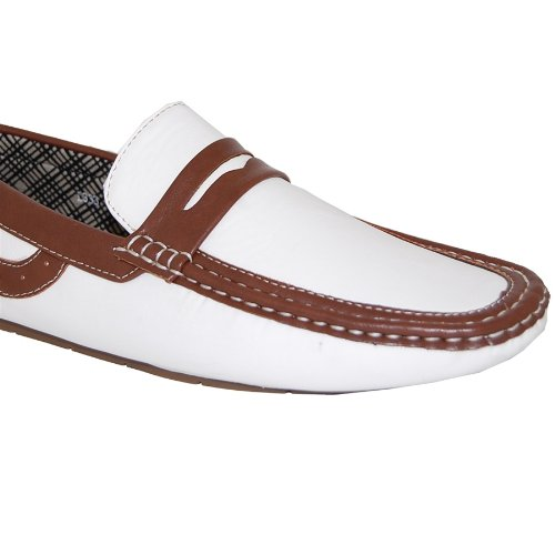 19f926fc39a6c KRAZY SHOE ARTISTS Shoe Artists Penny Loafer White Brown Men's Driving Shoe