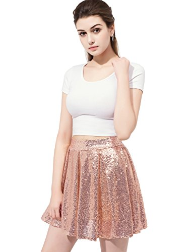 Sarahbridal Women's Mini Sequins Bridal Evening Prom Skirt Plus Skirt Short Rose (Bridal Mini Skirt)