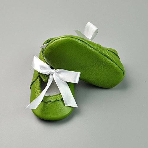 13-18 Months Green SanHype Shallow Baby Girl Shoes Genuine Leather Baby Moccasins Soft Infant Toddler Shoes with White Bowknot for 0-24M TM
