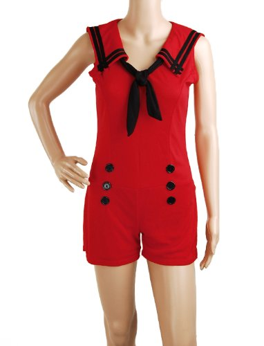 Jumpsuit-Red-Sailor-Nautical-50s-Pin-up-Vintage-Retro-Rockabilly-Womens-Playsuit-Size-S-Small