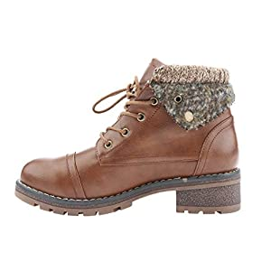 Fashare Womens Knit Fold Down Combat Boots Faux Leather Fall Ankle Booties
