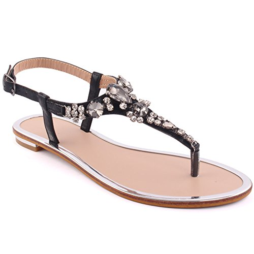Unze New Women  Coop  Diamante Embellished Summer Beach Party Get Together Carnival Casual Flat Sandals Shoes Uk Size 3 8   8Y3923 813