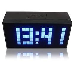 RioRand Digital Large Big Jumbo LED Snooze Wall Desk Alarm Day of Week Calendar Clock Blue(size:170mm85mm55mm)