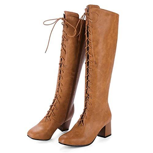 Haut Genou Chaussures Haute Sexy Longue Cuissardes Marron Lacets Taoffen Femmes Bottines Mode Talon Bottes Hqng55Ax6