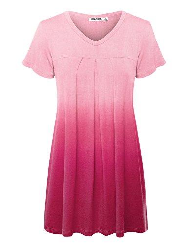 (WT1085 Womens Dip Dye V Neck Short Sleeve Pleats Tunic Top XL FUCHSIA)