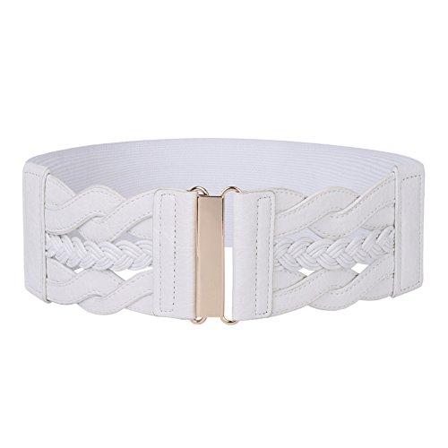 Womens White Wide Elastic Waist Belt Stretch Cinch Belt (White,L) (Leather Cinch Belt)