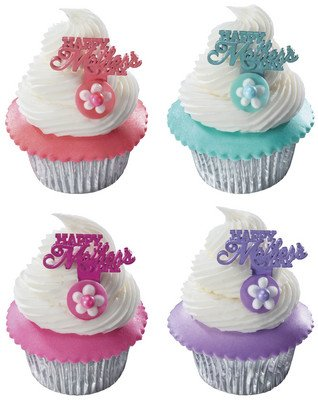 Happy Mother's Day Iridescent -24pk Cupcake / Desert / Food Decoration Topper Picks with Favor Stickers & Sparkle Flakes
