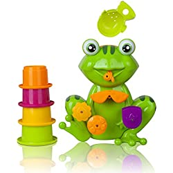 Zig Zag Kid Toddler Bath Tub Toy, Green Frog With 4 Stacking Cups