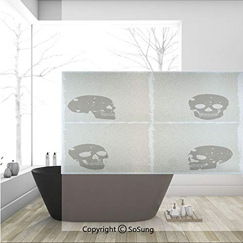 3D Decorative Privacy Window Films,Skull Figure on Murky Flat Framework Halloween Crossbones Spooky Monster Image,No-Glue Self Static Cling Glass film for Home Bedroom Bathroom Kitchen Office 36x24 In]()