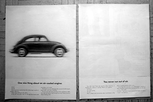 1962 VW Beetle-Air Cooled Engine-No Water Original 2 Page 13.5 * 10.5 Magazine Ad ()