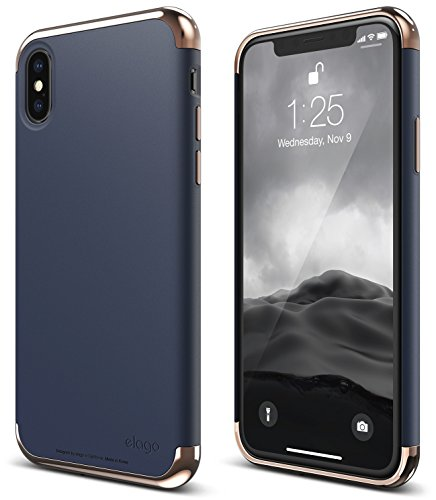 elago Empire Series iPhone X Case - Scratch Resistant Grip Coated Slim Fit Dual Toned Protective Cover for Apple iPhone X (2017) - Rose Gold / Jean Indigo (Empire Contact Gloves)