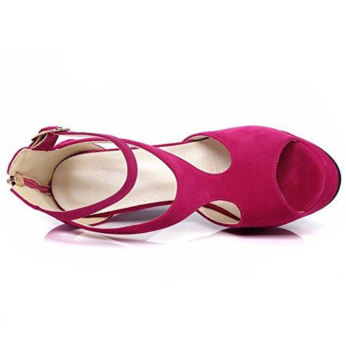 TAOFFEN Mujer Zapatos Western Tacon Ancho Plataforma Tacon Alto Sandalias De Hebilla Fucsia