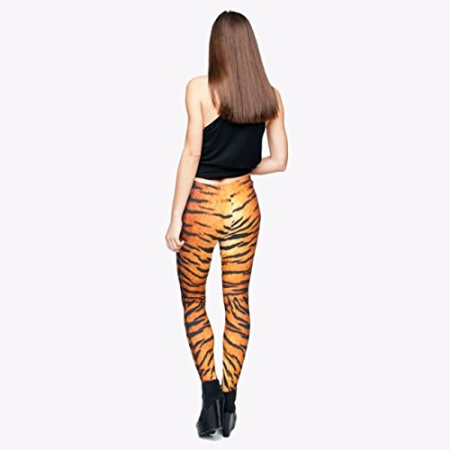 kukubird Printed Patterns Women's Yoga Leggings Gym Fitness Running Pilates Tights Skinny Pants 8 to 12 Stretchable - Tiger Fur -