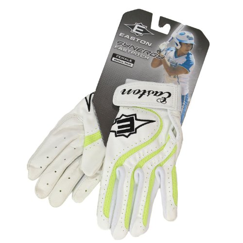 (Easton Synergy Fastpitch Series Adult Female Batting Glove - Color: White with Green Accent, Size: Small )